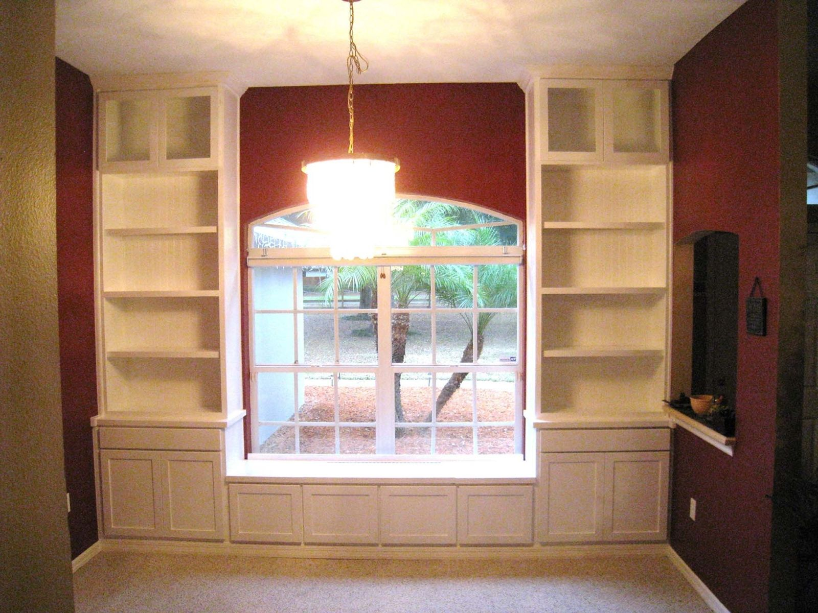 hand made custom built in bookcases window seat by natural