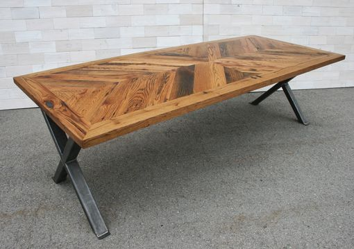 Custom Made Tobacco Oak Chevron Dining Table With Steel X Legs