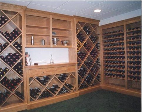 Custom Made Oak Wine Cellar Cabinets
