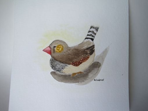 "Custom Made ""Cozy"" Male Zebra Finch Watercolor Painting"