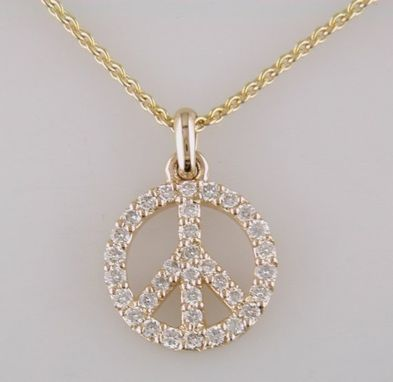 Custom Made 14k Yellow Gold Peace Sign Pendant