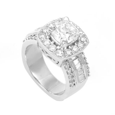 Custom Made 14k Round And Baguette Diamond Halo Engagement Ring With Cubic Zirconia (Cz) Center Stone