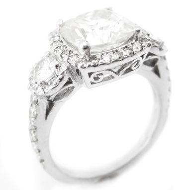 Custom Made Engagement Ring Antique Style- Cushion Cut Center Stone