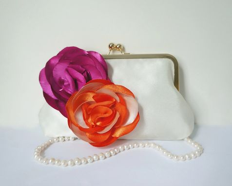 Custom Made Orange And Pink Clutch Purse With Flower Accent