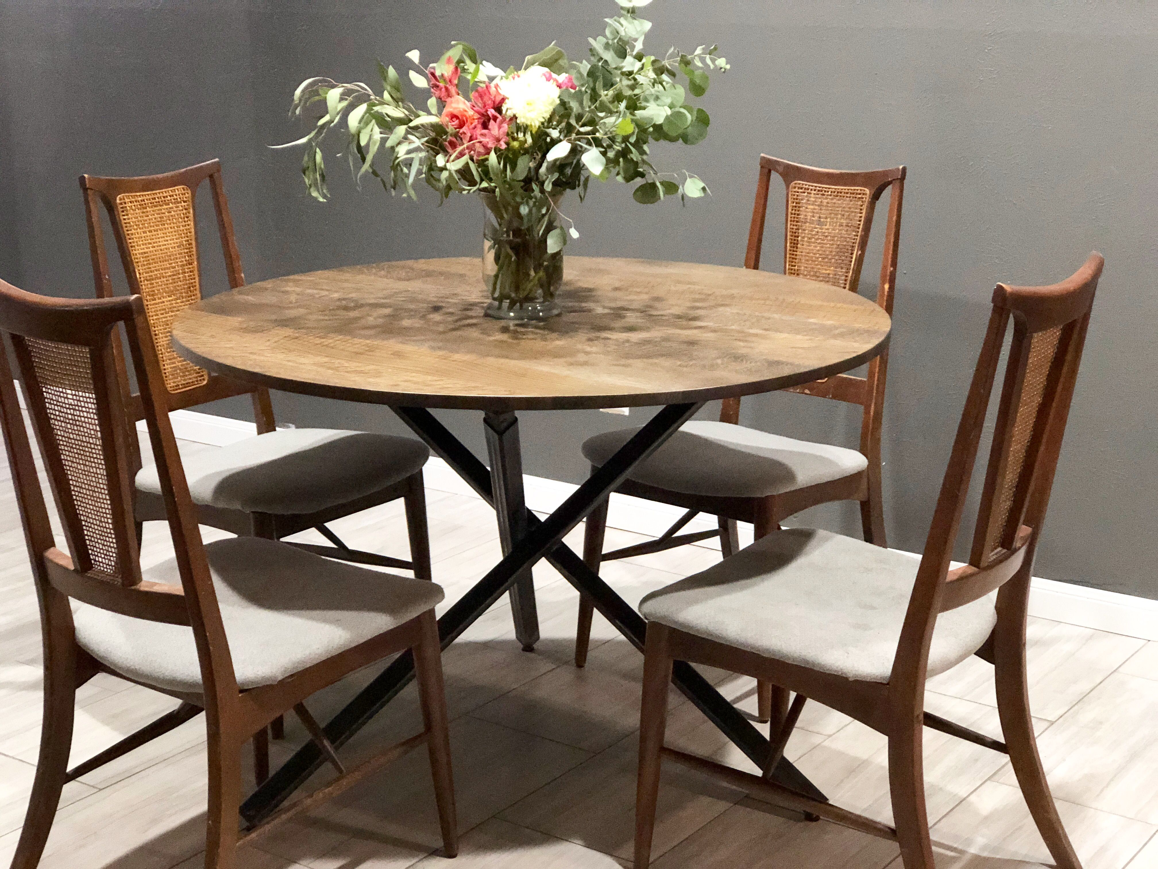 Hand Made Oak Round Kitchen Table With Tripod Style Metal ...