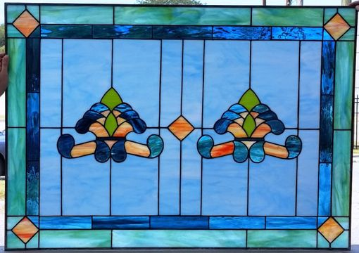 "Custom Made Stained Glass Window - ""Traditional Opals Ii"" (W-89)"