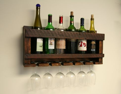 Custom Made Distressed To Impress! Rustic Handcrafted 6 Bottle, 6 Glass Wine Rack From Reclaimed Wood
