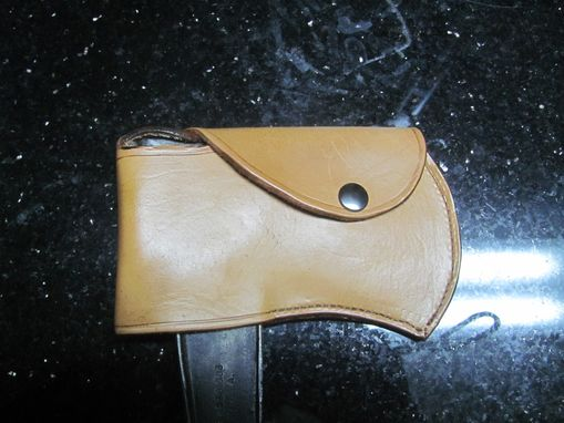 Custom Made Leather Hatchet Cover Carved With Boy Scouts Of America Logo