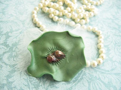 Custom Made Green Polymer Clay Flower And Freshwater Pearl Tulle Brooch - Accessorize Anything