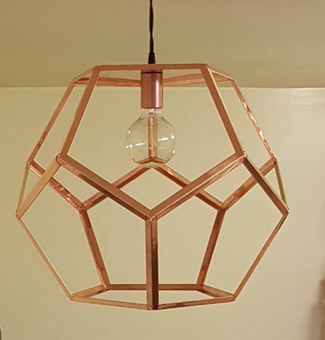 Custom Made Dodecahedron Copper Pendant Light