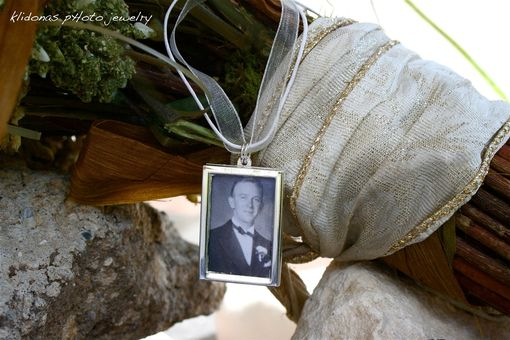 Custom Made Double-Sided Rectangular Photo Charm For Bouquet