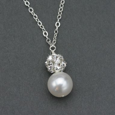 Custom Made Simple Pearl & Rhinestone Necklace