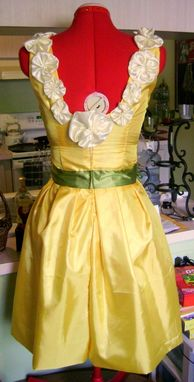 Custom Made Silk Sundress Yellow With Ivory Silk Flowers And Green Moss Waistband