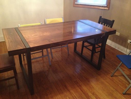 Custom Made Black Walnut Dining Table With Welded Steel Base