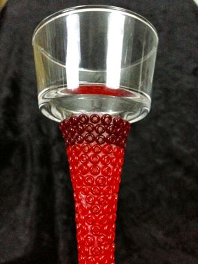 Custom Made Beaded Candle Holders - Ruby Red