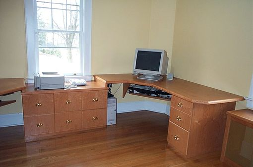 Custom Made Home Office Desk And Bookshelves