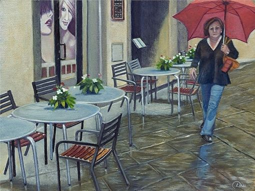 Custom Made Cortona Rain (Tuscany, Italy) Oil Painting - Limited Edition Paper Print