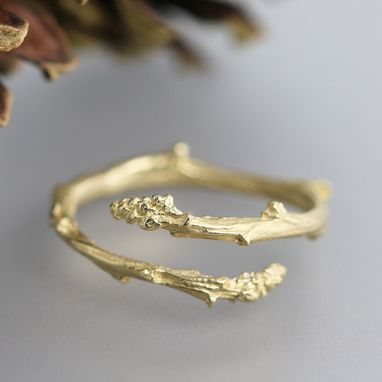 Custom Made Yellow Gold Twig Bypass Ring - 14k