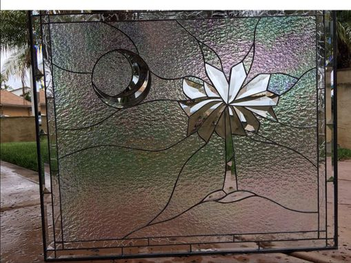 Custom Made Palm Tree & Moon Iridescent Clear Beveled Stained Glass Window