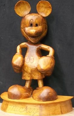 Custom Made Mickey Mouse Statue In Pine Wood
