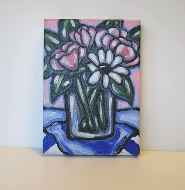 Custom Made Roses And Daisies Still Life Painting Original Acrylic On Canvas