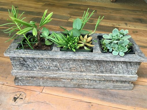 Custom Made Reclaimed Wood 3 Pocket Planter/Herb/Succulent Box