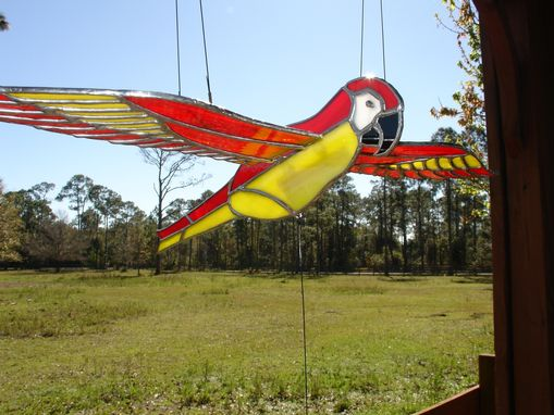 Handmade Stained Glass 3d Flying Birds Mobile By Artistic