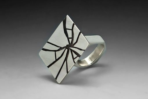Custom Made Shattered Glass Cocktail Ring, Hollow Formed Sterling Silver