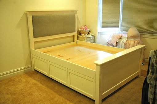 Custom Made Queen Painted Trundle / Storage Bed