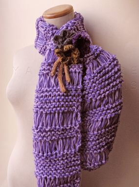 Custom Made The Winterberry Scarf And Brooch In Plum Purple / On Sale Now