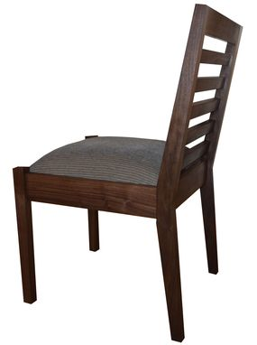 Custom Made Modern Walnut Dining Chair With Upholstered Seat