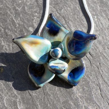 Custom Made Sterling Silver Necklace With Opaque Blue Grey Glass Orchid Pendant