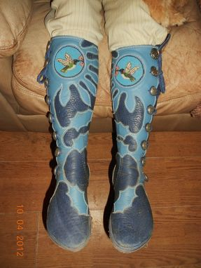 Custom Made Cutom Fitted Moccasins Made From Steel Blue Bull Hide Leather