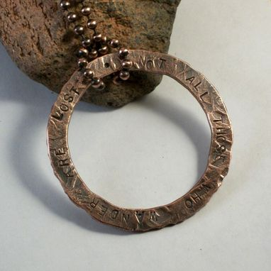 Custom Made Hand-Forged Copper Ring Pendant