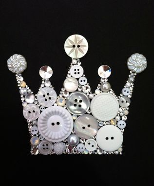 Custom Made Crown Art Button Crown & Swarovski Crystal Crown Keep Calm And Carry On Art