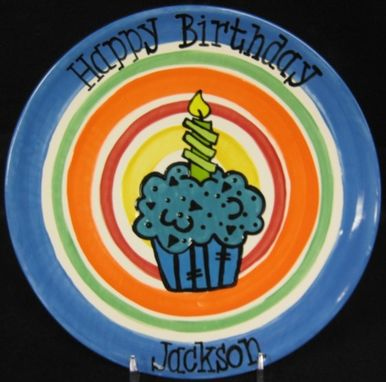 Custom Made Striped Cupcake Birthday Plate