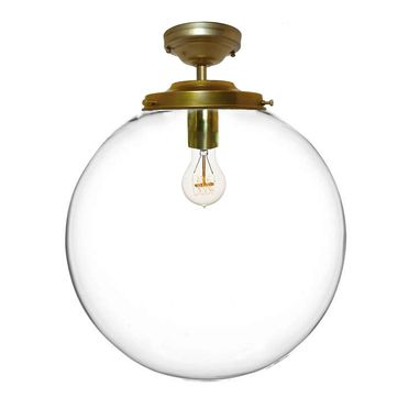 "Custom Made 16"" Clear Blown Glass Globe Flushmount Light- Brass"