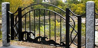Custom Made Custom Wrought-Iron Frog Hollow Fence