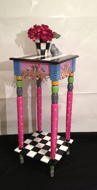 Custom Made Incredible 12 X 12 Hand Painted Accent Side Table - Plaid - Stripes - Polka Dots - Toile - Checks