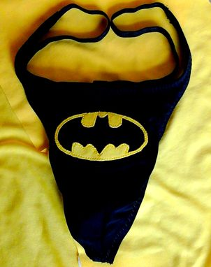 Custom Made Batman G-String Black Men's Handmade Lycra Superhero