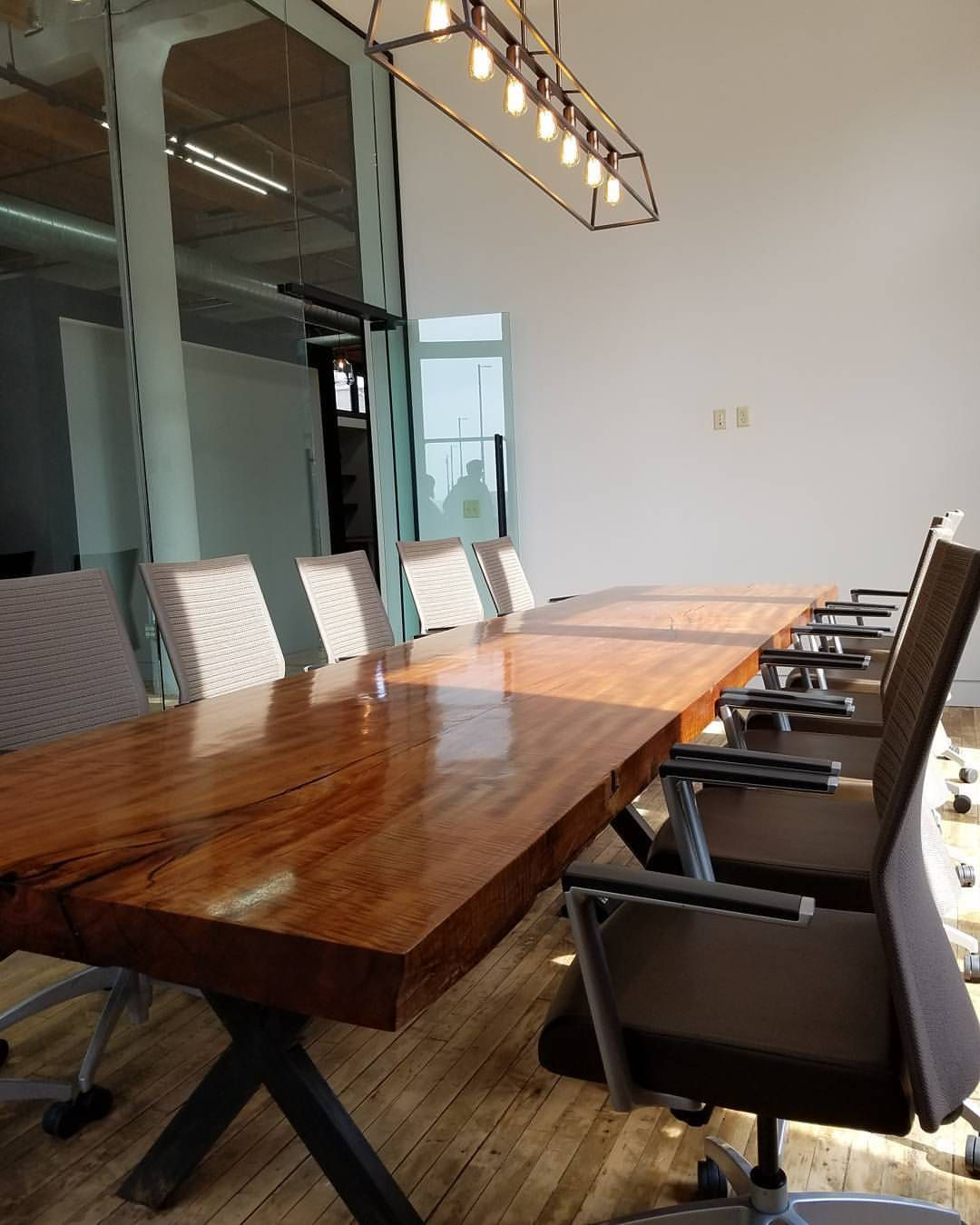 Custom Foot Makore African Cherry Live Edge Conference Table W - 14 foot conference table