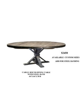 "Custom Made 64"" Round Dining Table."