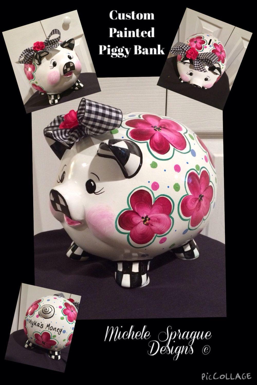 buy a handmade custom painted piggy bank ceramic piggy bank