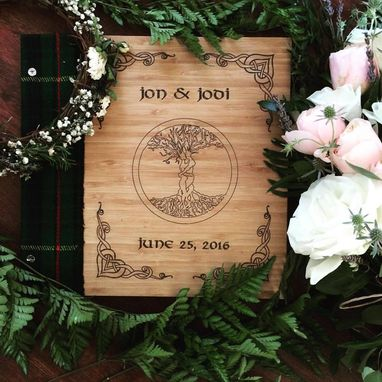 Custom Made Cloth And Bamboo Wedding Guest Book