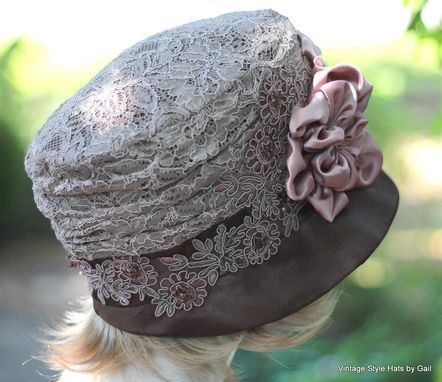Custom Made Edwardian Vintage Style Wedding Hat In Taupe Mauve Lace With Handmade Flowers