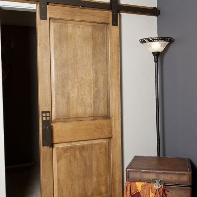 hand made interior barn door hardware flat track installation by