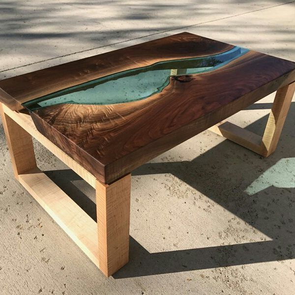 Hand Crafted Walnut River Glass Coffee Table By Villella