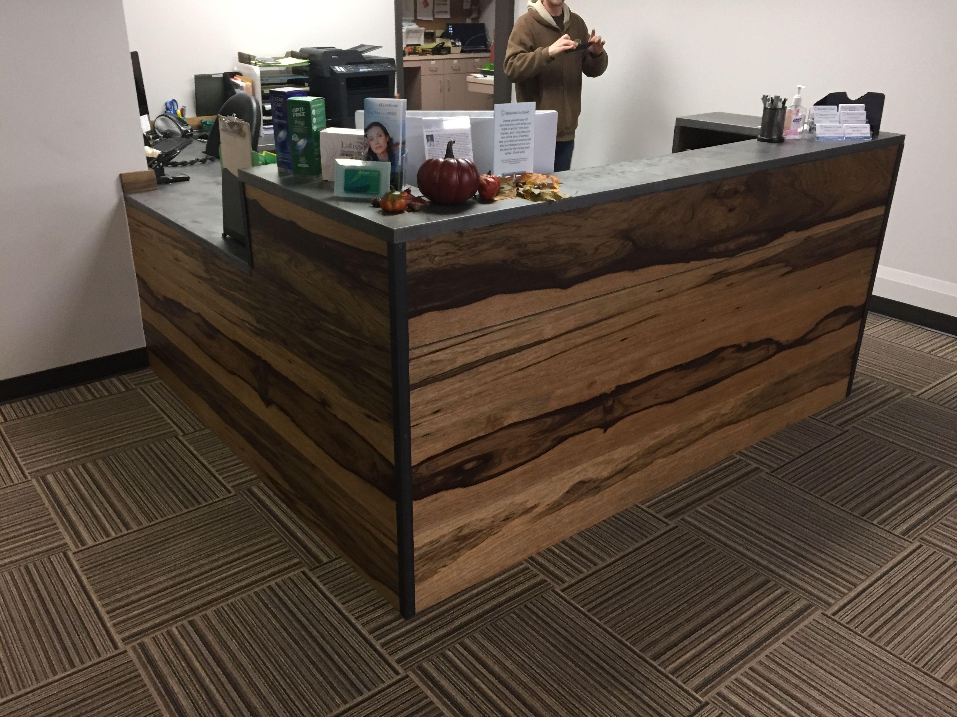 Custom Made Black Limba And Distressed Steel Reception Desk
