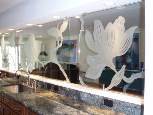Custom Made Kitchen Carved Glass Divider/Screen