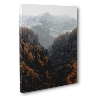 Custom Made Foggy Mountain Scenery Photography Canvas Wall Art